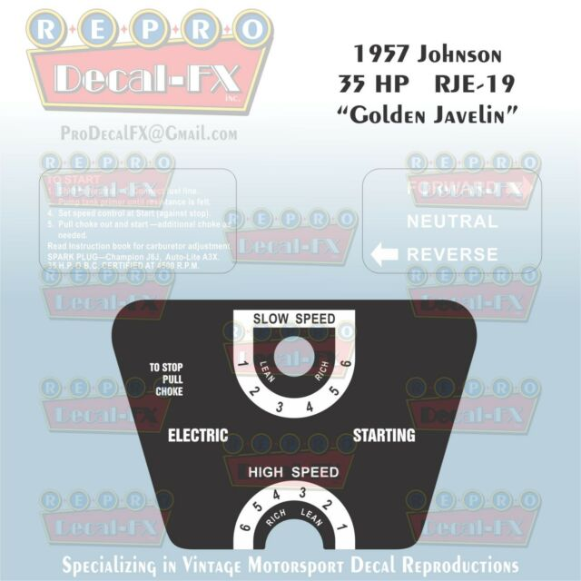 1957 Johnson 35hp Golden Javelin Rje-19 Electric OUTBOARD Reproduction  Decals