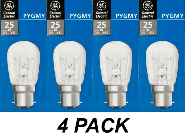 GE Pygmy 4 x 25W Clear Pilot Light Globes Bulbs Lamps B22 Bayonet BC