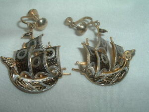Image Is Loading Vintage Large Spanish Gold Damascene 3 D Sailing