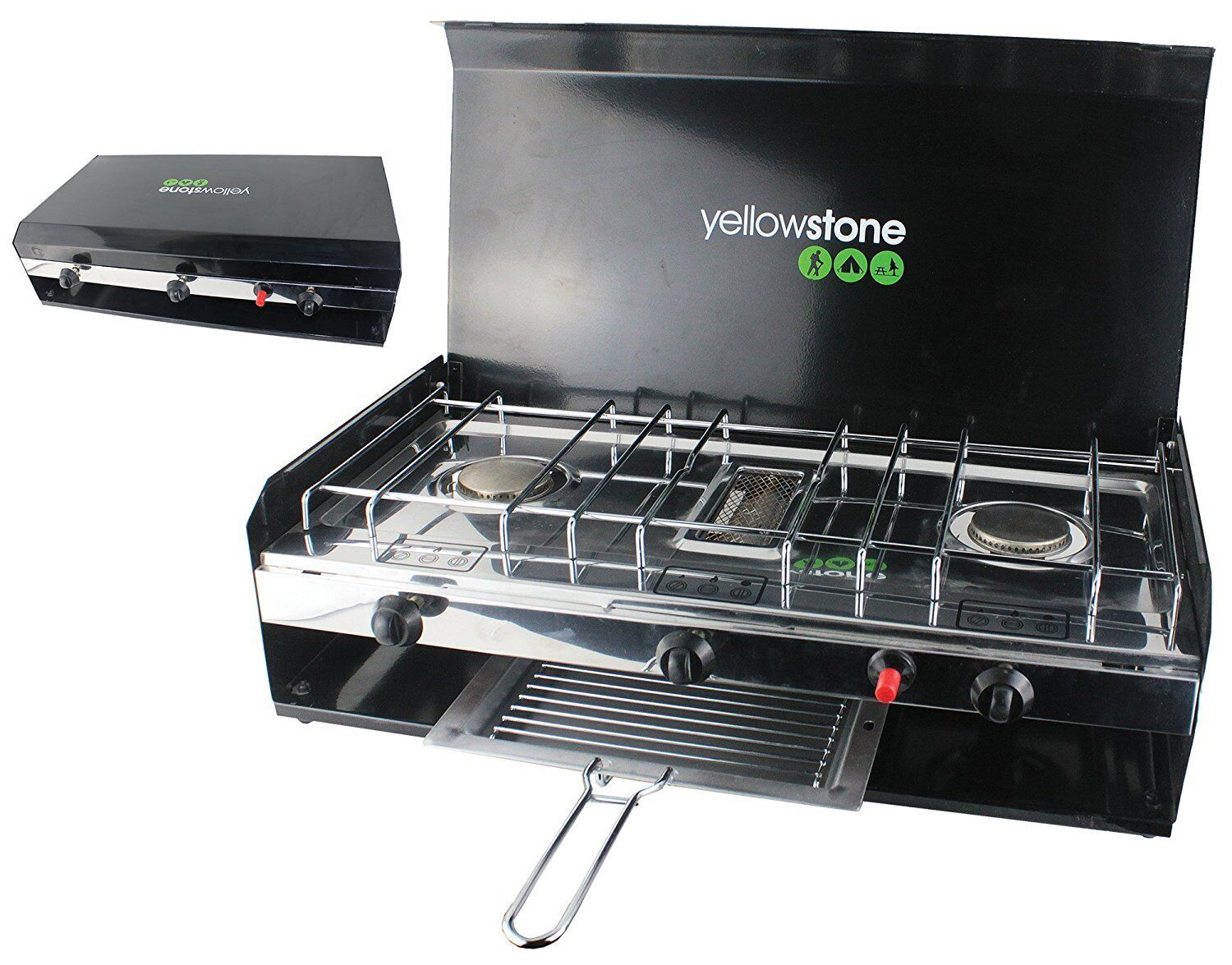 Camping Double Gas Burner Stove with Grill & Lid by jaunestone