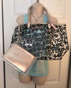 Victoria-039-s-Secret-Duo-Graffiti-Logo-Tote-Bag-amp-Bonus-Cosmetic-Bag-NEW