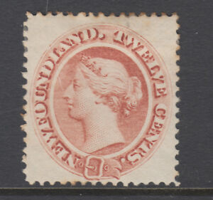 Newfoundland-Sc-28-MLH-1865-12c-red-brown-Queen-Victoria-few-toned-perf-tips