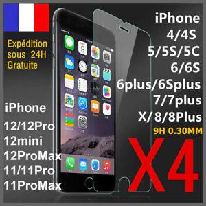 VERRE TREMPE IPHONE VITRE PROTECTION ECRAN 11 12 PRO MAX SE 6 7 8 PLUS X XS XR