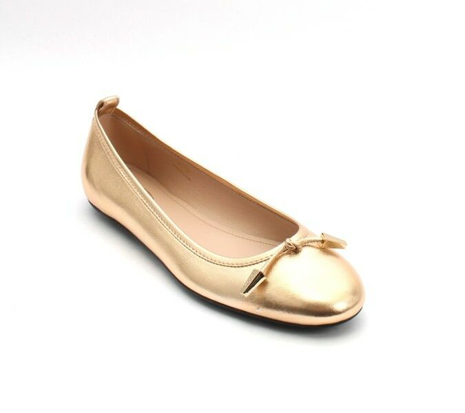 Tod's 614 gold Tone Metallic Leather Ballerina Flats 36     US 6 fc4cd3