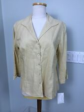 NWT - DONCASTER Sz 10 Beige Linen 3/4 Sleeve Button Blouse Shirt