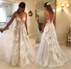 Beach Wedding Dresses Princess V Neck Summer A Line Lace Applique Bridal Gowns Ebay,Knee Length Fall Wedding Guest Dresses With Sleeves