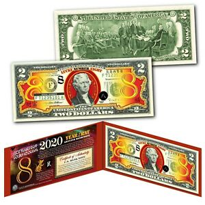 2020-Chinese-New-Year-of-RAT-US-2-Bill-Gold-LUCKY-8-HOLOGRAM-8-039-s-Red-Display