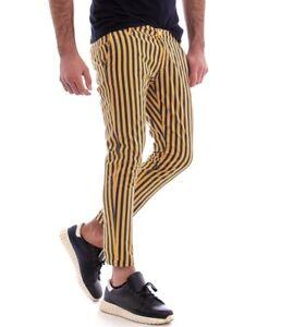 Pantalone-Uomo-Rigato-Tasca-America-Righe-Bicolore-Giallo-Slim-Cotone-GIOSAL