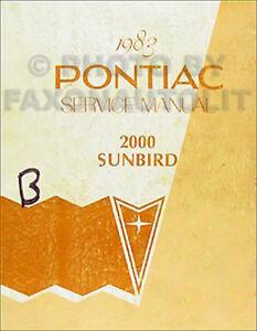 Auto & Motorrad: Teile Automobilia Sparsam 1983 Pontiac 2000 Sunbird Reparatur Shop Manual 83 Original Oem Gesangbuch Se Le FüR Schnellen Versand