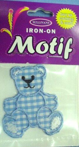 Blue Gingham Bear Motif