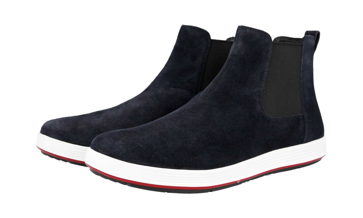 AUTH LUXURY PRADA HALF-BOOT SHOES 4T3153 blueE SUEDE NEW US 11.5 EU 44,5 45