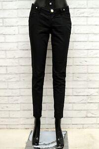 Pantalone-Donna-JECKERSON-Taglia-28-Jeans-Pants-Woman-Cotone-Slim-Skinny-Nero