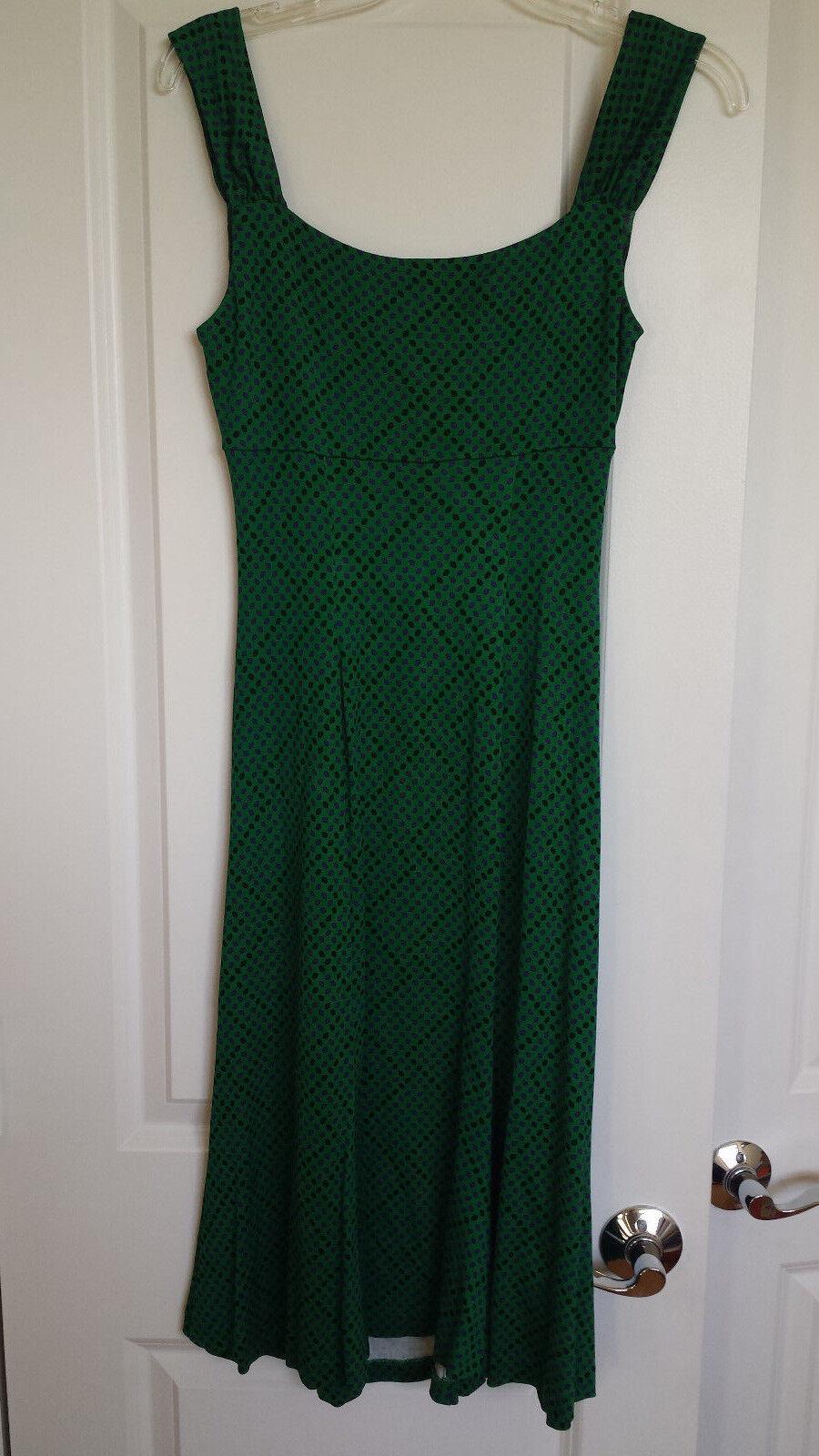 DVF DVF DVF Diane von Furstenberg 100% Silk dress green with purple dots size 6, mint 65e5b2