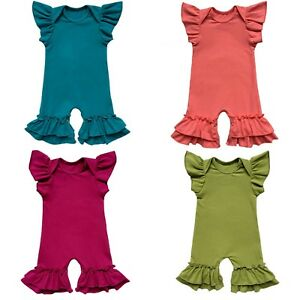 54c09a85b Image is loading Newborn-Baby-Infant-Girls-Flutter-Sleeve-Icing-Romper-