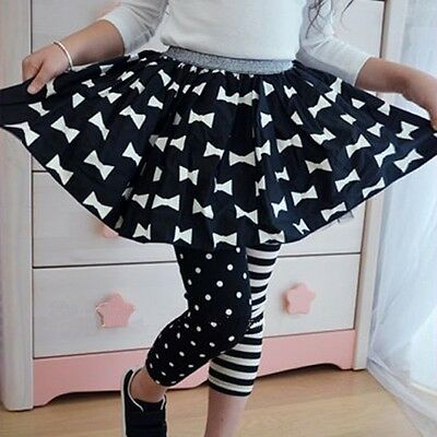 Stylish Princess Kids Girls Polka Dot Stripe Leggings Trousers 1-9 Ages
