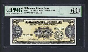 Philippines  5 Pesos 1949 P135e Uncirculated Grade 64