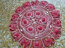 Nanduti Lace  Round Doily ~ Paraguay red and white