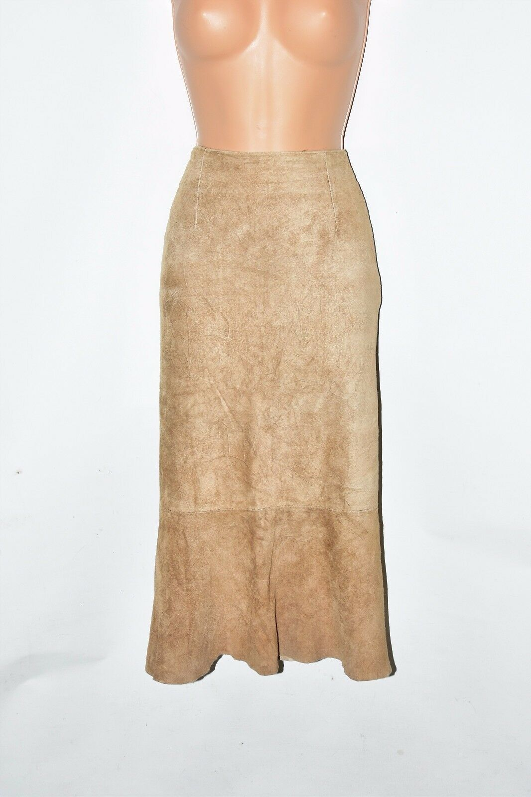Vintage Brown Real Leather ARMA Calf Length Women's Skirt Size UK10 L29
