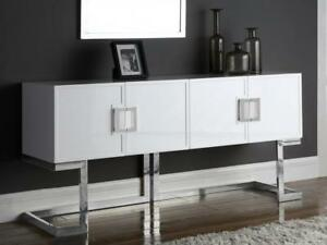 Image Is Loading Meridian Furniture Beth Modern White Lacquer Chrome Steel