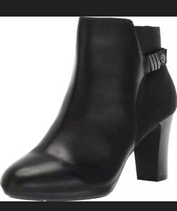 NEW Anne Klein Womens Sully Black Leather Ankle Boots Shoes