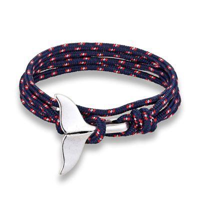 nautical wristband pulsera hombre dolphin tail bracelet nautische armband Black  whale tail mens paracord nautical bracelet