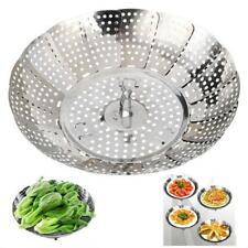 Stainless Mesh Folding Food Dish Vegetable Fruit Steamer Basket Cook Poacher New