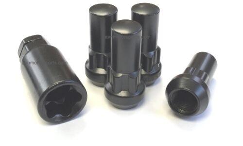 "1//2-20 Locking Lug Nuts Wheel Locks 1.9/"" Long Black Acorn Set Ford Dodge Jeep"