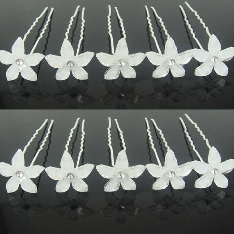 Set 10 Hair Pins Lilie White Wedding Bride Accessories Flower Rhinestone Tiara