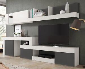Detalles de Mueble modular salon comedor diseño moderno color blanco y  pizarra 295x164x40 cm