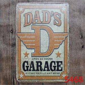Dads Garage Vintage Metal Tin Signs Plate Decor Art Wall Poster Ebay