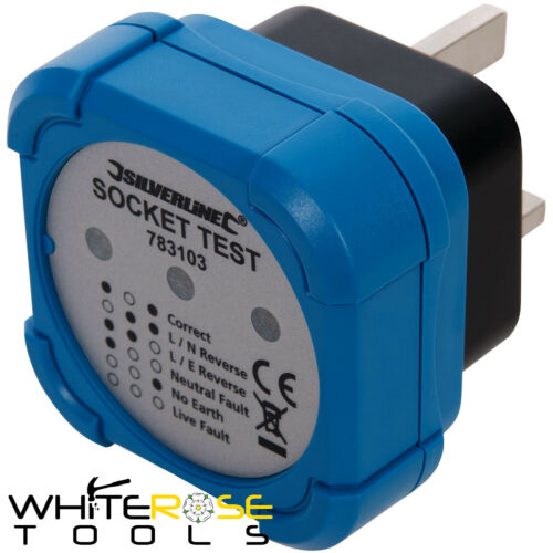 Silverline Plug In Socket Tester Electric Mains UK Power Live Earth Wire Fault