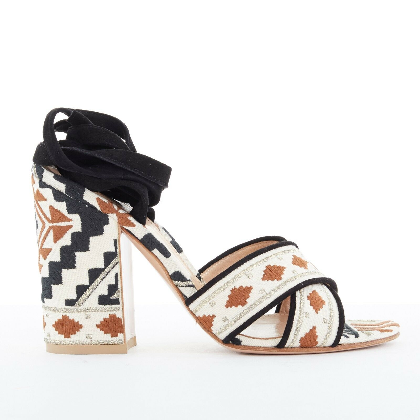 GIANVITO ROSSI tribal ethnic embroiderouge canvas suede wrap chunky sandals EU37
