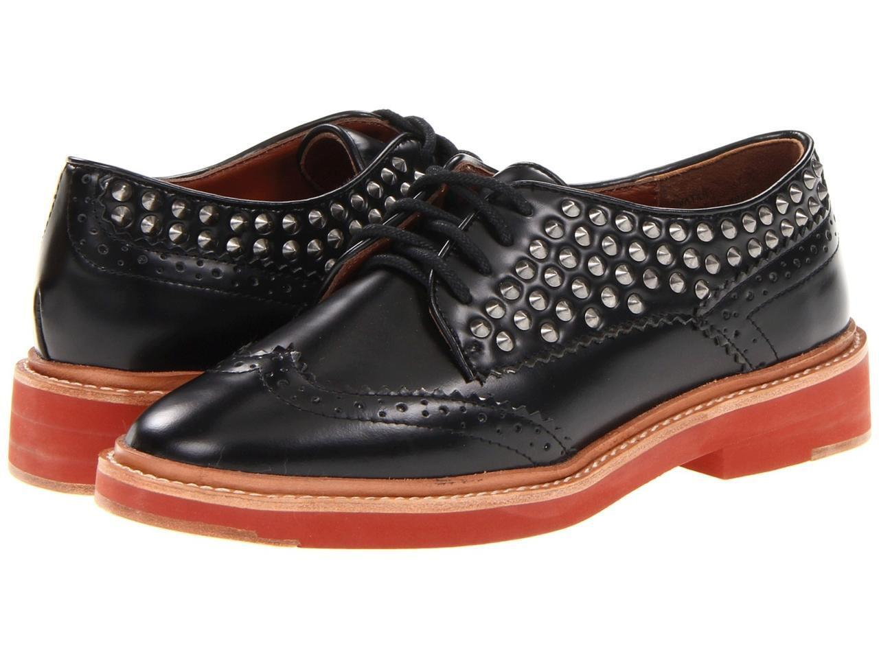 Pour La Victoire Wouomo Mayah Flat nero Calf leather lace-up studs wingtip NEW