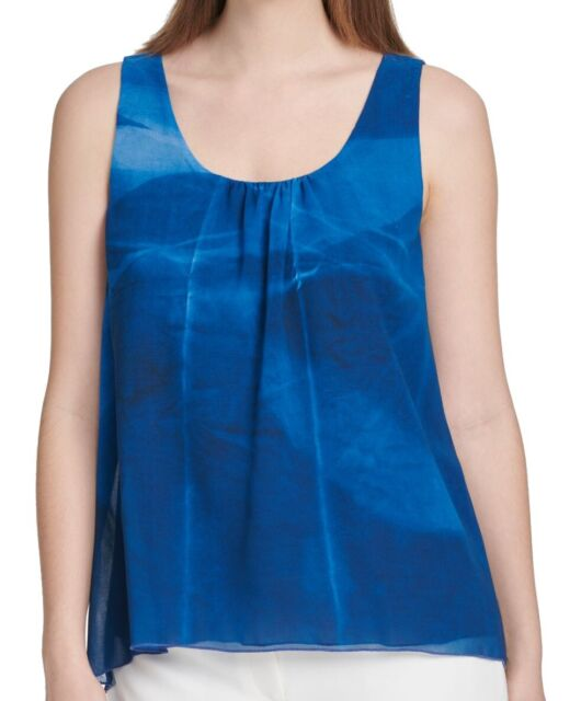 DKNY Women's Blouse Blue Size Medium M Watercolor Print Pleat Neck $59 #278