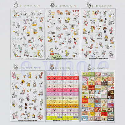 6 X Rabbit Diary Label Book Sticker Notebook Scrapbook Calendar Decoration WT