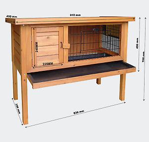 Cage en bois pour rongeurs, hamsters ou lapins WC