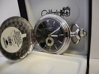 Colibri Stainless Steel Black Face Pocket Watch 12/24 Hour, Sub Dial & Chain