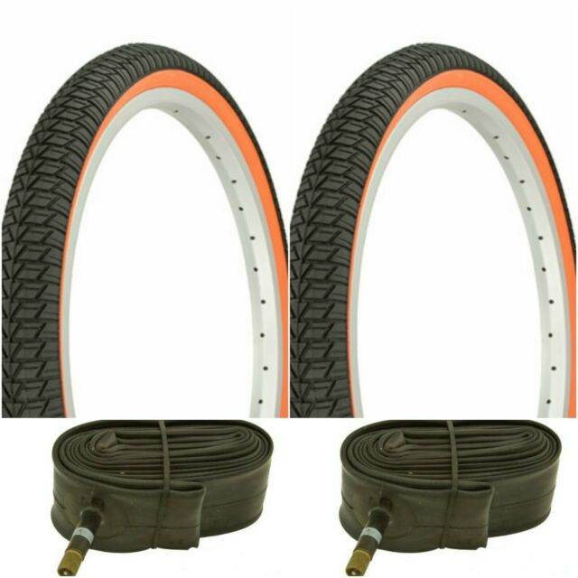 """YELLOW line WHITE WALL SMALL BRICK 20x1.75/"""" BIKE BICYCLE TRAILER  TIRES /& TUBES"""