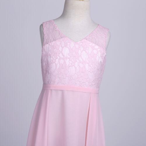 Girls Mesh Cutout Back Junior Bridesmaid Chiffon Dress Wedding Pageant Dresses