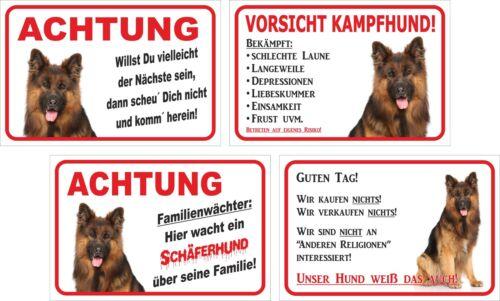 15x20 oder 20x30cm Versch LANGHAAR Schäferhund Schild Vorsicht Texte