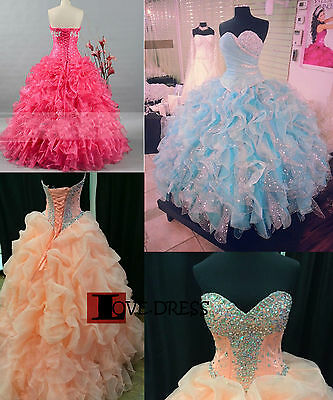 STOCK New Beaded Princess Quinceanera Prom Party Evening Gown Dresses Size 6-18