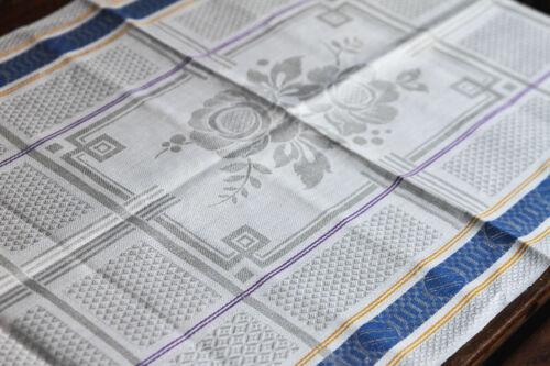 Lino damascos toalla//mesa alfil art deco orillo para 1925 Antique linentowel