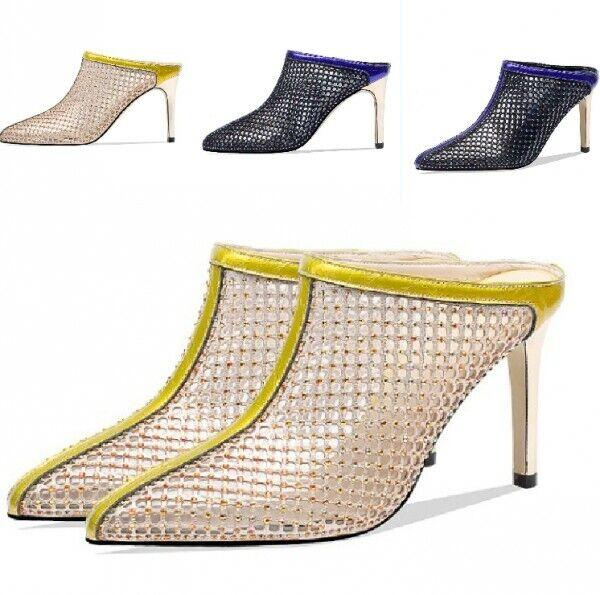 Rhinestones Decor Mules Hollow Slippers High Stiletto Heel donna scarpe Stylish