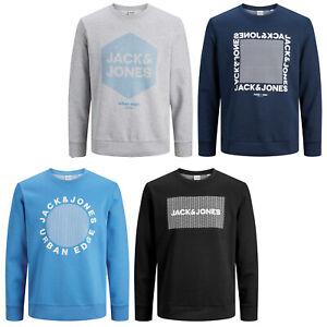 JACK&JONES Suéter Hombre Logo Pecho Estampado y Manga Larga Cuello Redondo Core