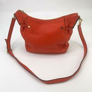 Michael-Kors-Leather-Shoulder-Bag-Purse-Red-Orange-Zip-Close-Crossbody-One-Strap