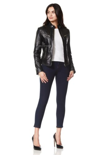 Moda Donna Giacca Biker in Pelle Nera Smart Aderente Morbido Napa leather SR01