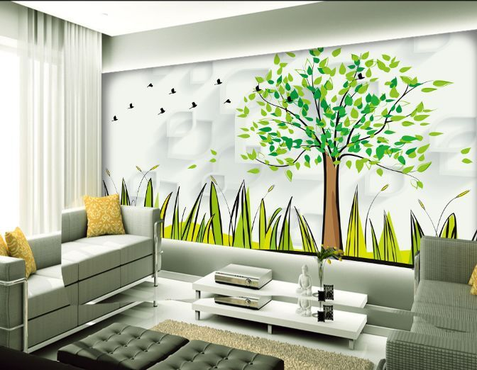 3D Vögel, Bäume, Gras 277 Fototapeten Wandbild Fototapete BildTapete Familie
