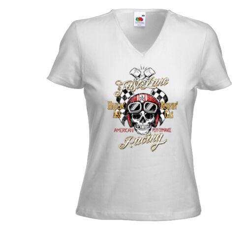 Biker Damen T-Shirt Fast Lane weiß Hot Rod Cafe Racer V8 Rockabilly