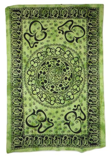 Multi Om Print Tie Dye Green Indian Made Cotton Throw 140 x 210 cm