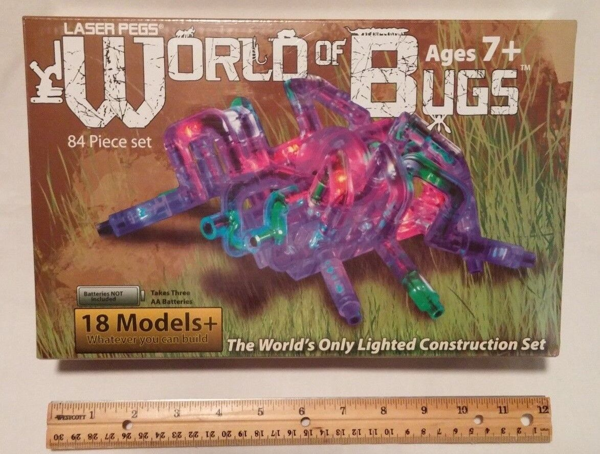Laser Pegs World of Bugs Lighted Construction Set, 84 Pieces, 18+ Models